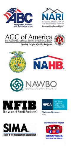 Associated Builders and Contractors / Associated General Contractors / Farmers in America / FFA Member / National Association of Home Builders / National Association of Remodelers Industry / National Association of Women Business Owners / National Federation of Independent Businesses / National Funeral Directors Association / Plumbing Heating Cooling Contractors / Snow and Ice Management Association